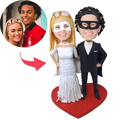 AU Sales-Custom Wedding Bobbleheads With Engraved Text