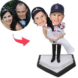 AU Sales-Custom Sports Bridegroom Holds The Bride Bobbleheads