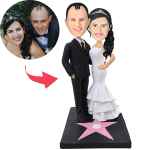 AU Sales-Custom Walk of Fame Couple Bobbleheads With Engraved Text