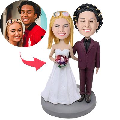 AU Sales-Custom Wedding With Red Suit Bobbleheads