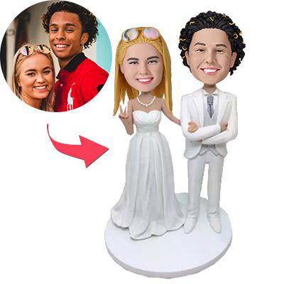 AU Sales-Custom White Suit Wedding Bobbleheads