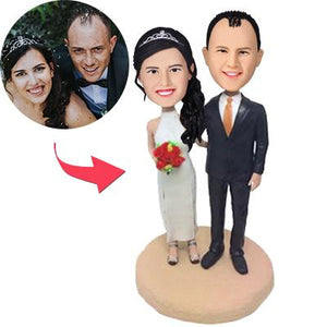 AU Sales-Custom Wedding With Cheongsam Bobbleheads With Engraved Text