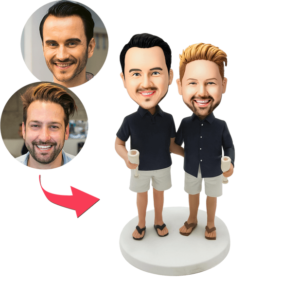 AU Sales-Custom Casual Same-sex Male Couple Bobbleheads With Engraved Text