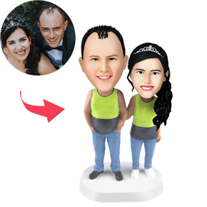 AU Sales-Custom Couple Wearing Tank Tops Bobbleheads