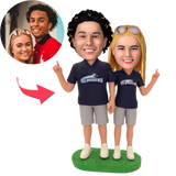 AU Sales-Custom Football Fans Couple Bobbleheads