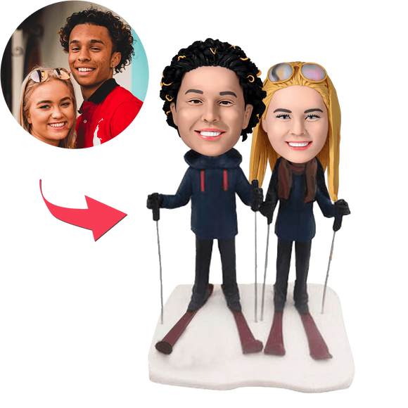 AU Sales-Custom Skiing Couple Bobbleheads With Engraved Text