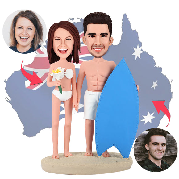 AU Sales-Custom Surfing Couple Bobbleheads