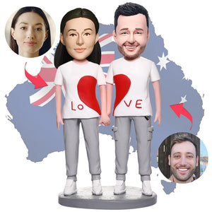 AU Sales-Custom Casual Wear LOVE Couple Bobbleheads With Engraved Text