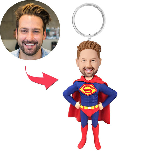 AU Sales-Custom Superhero Bobbleheads Key Chain