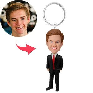 AU Sales-Custom Male Executive In Power Suit Bobbleheads Key Chain