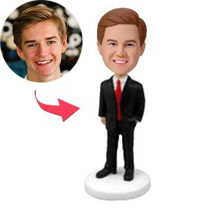AU Sales-Custom Male Executive In Power Suit Bobbleheads