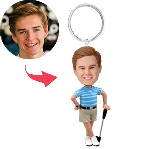AU Sales-Custom Golfer Posing With His Club Bobbleheads Key Chain
