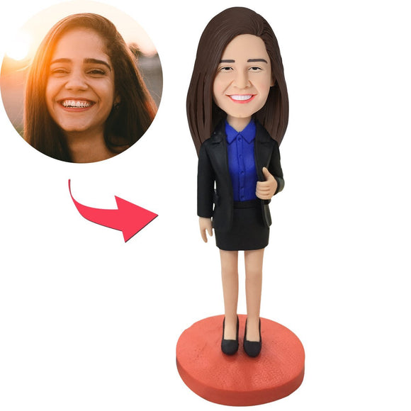 AU Sales-Custom Female Executive Bobbleheads With Engraved Text