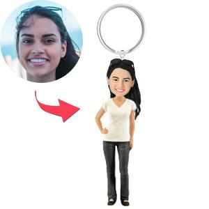 AU Sales-Custom Casual Female Bobbleheads Key Chain
