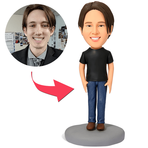 AU Sales-Custom Casual Male in Jeans Bobbleheads With Engraved Text
