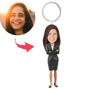 AU Sales-Custom Female Executive B Bobbleheads Key Chain