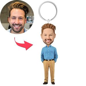 AU Sales-Custom Business Casual Male A Premium Figure Bobbleheads Key Chain