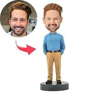 AU Sales-Custom Business Casual Male A Premium Figure Bobbleheads