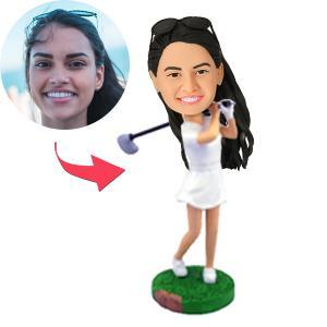 AU Sales-Custom Female Golfer Swinging Her Club Bobbleheads