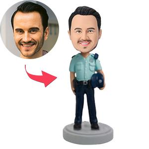 AU Sales-Custom Police Officer Holding Hat Bobbleheads