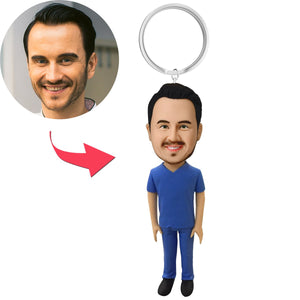 AU Sales-Custom Male Medical Professional in Blue Scrubs Bobbleheads Key Chain