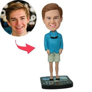 AU Sales-Custom Casual Male On Blackberry Base Bobbleheads