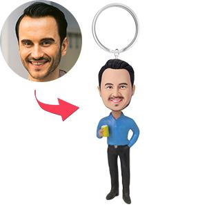AU Sales-Custom Casual Male With Drink Bobbleheads Key Chain