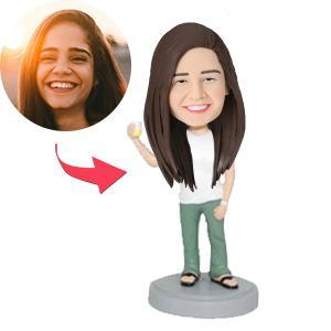 AU Sales-Custom Casual Female Holding Drink Bobbleheads