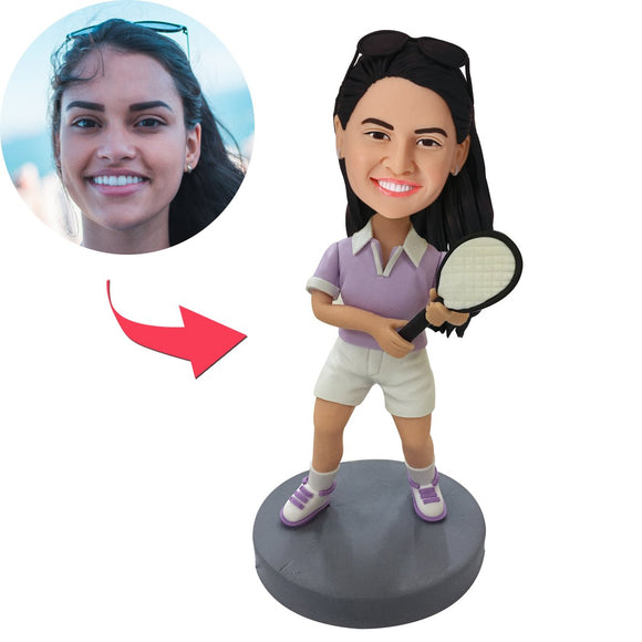 AU Sales-Custom Tennis Player Bobbleheads With Engraved Text