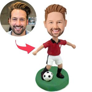 AU Sales-Custom Soccer/football  Player Dribbling With Red Shirt Bobbleheads