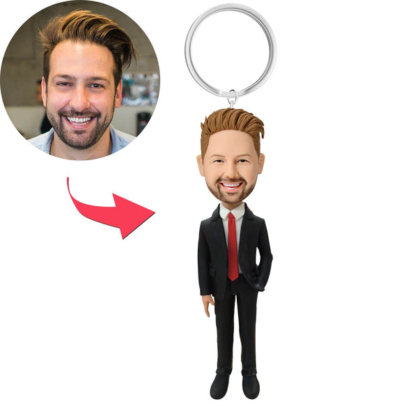 AU Sales-Custom Male Executive In Red Tie Bobbleheads With Engraved Text Key Chain