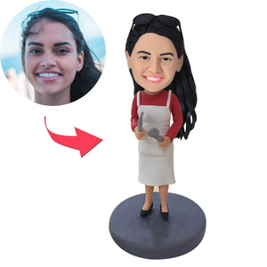 AU Sales-Custom Female Cook In Apron Bobbleheads