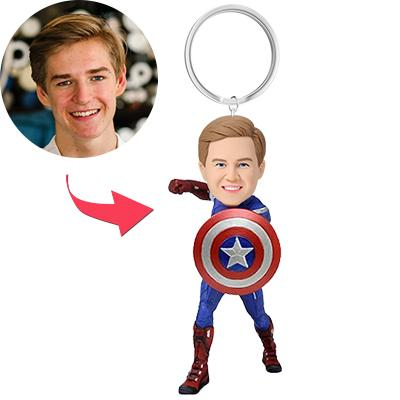 AU Sales-Custom Captain America Bobbleheads Key Chain