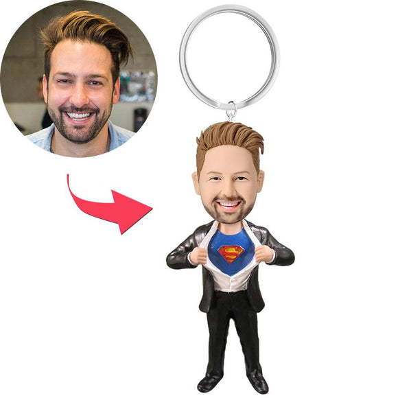 AU Sales-Custom Superman Strip Bobbleheads Key Chain