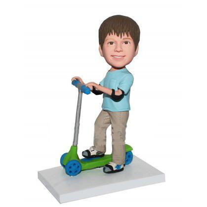 AU Sales-Custom Boy With Elbow Pad Riding Bicman Bobbleheads