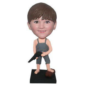 AU Sales-Custom Boy In Pjs With A Water Pistol Bobbleheads With Engraved Text