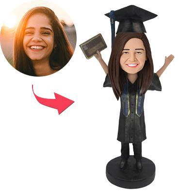 AU Sales-Custom I graduated Bobbleheads With Engraved Text