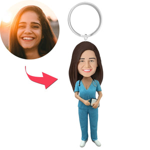 AU Sales-Custom Female Nurse Bobbleheads With Engraved Text Key Chain