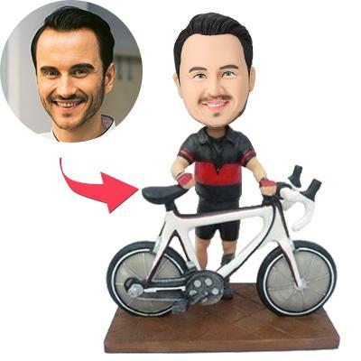 AU Sales-Custom Biker With A Bike Bobbleheads With Engraved Text