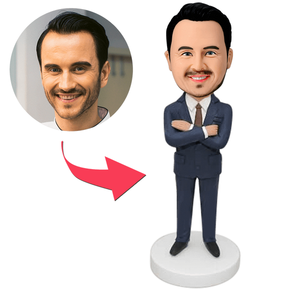 AU Sales-Custom Businessman Bobbleheads With Engraved Text