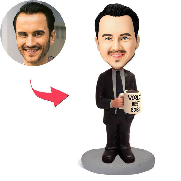 AU Sales-Custom WORLD'S BEST BOSS Bobbleheads With Engraved Text
