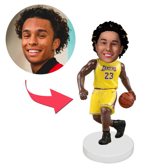 AU Sales-Custom Los Angeles Lakers Basketball Player Bobbleheads With Engraved Text