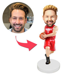 AU Sales-Custom Houston Rockets Basketball Player Bobbleheads With Engraved Text