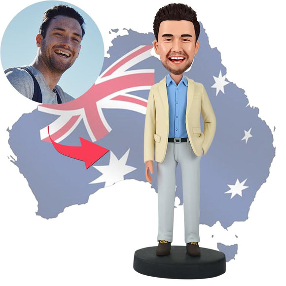 AU Sales-Custom Businessman With Hand In Pocket Bobbleheads With Engraved Text