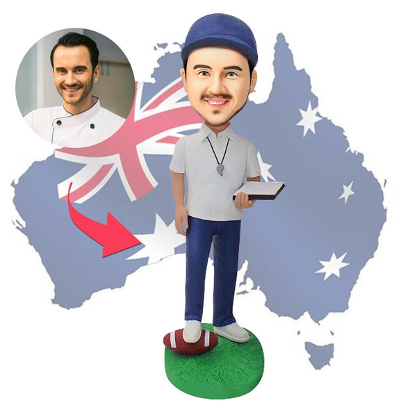 AU Sales-Custom Aussie Football Officials Bobbleheads With Engraved Text