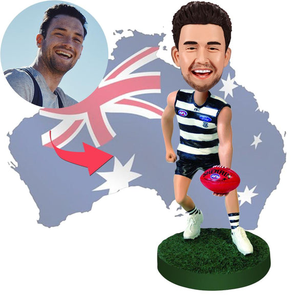AU Sales-Custom AFL Player Wearing ISC Bobbleheads With Engraved Text