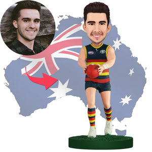 AU Sales-Custom AFL Player Grabbing The Ball Bobbleheads With Engraved Text