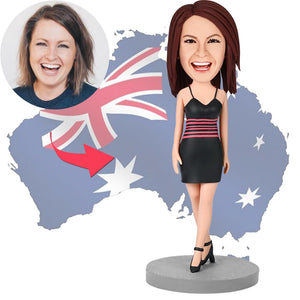 AU Sales-Custom Female Wearing A Black Dress Bobbleheads