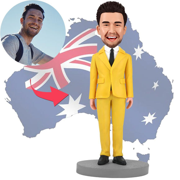 AU Sales-Custom Modern Man In Yellow Suit Bobbleheads