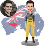 AU Sales-Custom Fashion Man In Yellow Bib Pants Bobbleheads